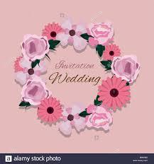 Floral Wedding Invitation Design With Decorative Wreath Of
