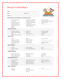 Child Care Incident Report Example Kids Behavior Incident Report Templates At