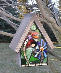 stained glass bird houses design