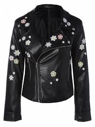 fl embroidered lapel collar faux leather jacket black m