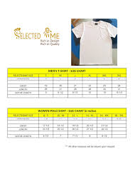 T Shirts Size Chart Men Women Boys And Girls