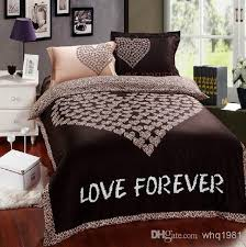 romantic brown leopard love forever bedding sets queen size comforter duvet cover bed sheet bedclothes cotton home textile in a bag from whq1981