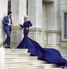 2017 royal blue mermaid muslim wedding dresses long sleeve lace