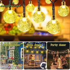 Dây đèn LED 10m 50 bóng pha lê trang trí Giáng Sinh sạc bằng năng lượng mặt  trời
