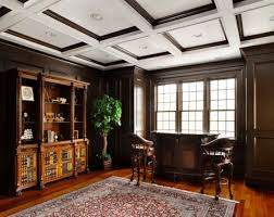 View in gallery Exquisite wood trim ceiling to match the beautiful hardwood  floors in this traditional home office