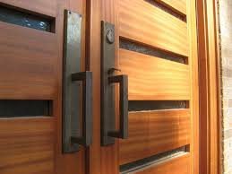 double front door handles. Exterior Design: Alluring Natural Oak Double Modern Front Door With DIY 2 Push Pull Black Iron Handles And Small Lite Entrance As A