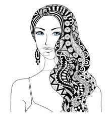 Posters Dessin Femme Sexy Zentangle Coiffure Pour Coloriage Livre Pour