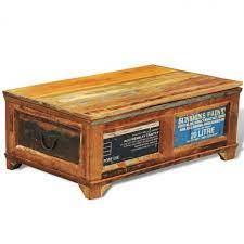 vintage coffee table storage wooden box