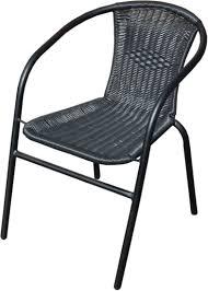 Black Outdoor Wicker Rattan Bistro Chair Metal Frame Woven Seat Black Outdoor Wicker Furniture