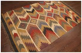 rugsville earthtone geomatric wool jute dhurrie rug 5 x 8