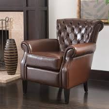 franklin brown tufted bonded leather club chair by christopher knight home 13dc5645 9a66 4232 825c d306