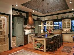 custom country kitchen cabinets. Luxury Country Kitchen. Multiple Tones Are Used Throughout The Custom Cabinetry - Green, Cream Kitchen Cabinets E