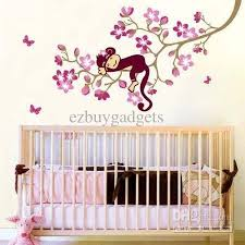 cute monkey pink flower blossom tree wall art decor decal baby kids bedroom nursery removable wall sticker on tree wall art baby nursery with cute monkey pink flower blossom tree wall art decor decal baby kids
