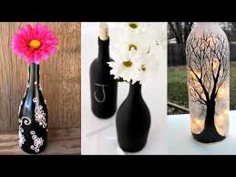 upcycled diy glass bottle art home decor ideas painted black bottle collection