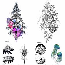 геометрические треугольные цветы временные татуировки женские