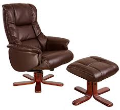 shanghai nut brown leather swivel recliner chair footstool dark base me home furnishings