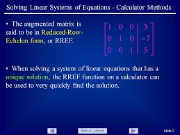 table of contents slide 2 solving linear systems of equations calculator methods the augmented matrix