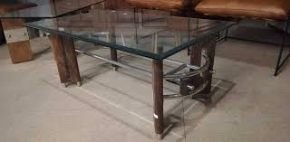 vintage coffee table with wooden base