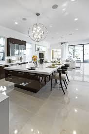 modern kitchen island design. Large Modern White And Dark Brown Kitchen With Huge Island Breakfast Bar. Design