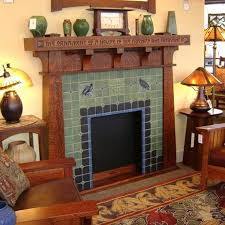 arts and crafts fireplace with tile by rookwood pottery description from com