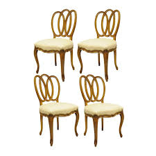 set of four triple oval back walnut leather dining side chairs french provincial for