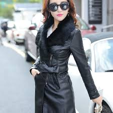 mikialong 2017 fur collar women long leather jacket coat female winter long sleeve suede fur jacket women bow motorcycle jacket women clothing