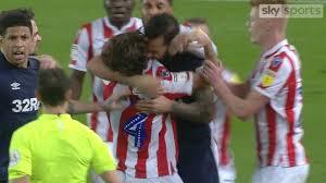 Biting mad! Derby's Bradley Johnson pulls a Luis Suarez on Stoke's Joe  Allen during mass scuffle | Goal.com