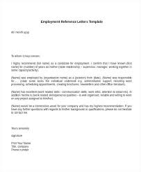 employment letter examples employment reference letter template employee recommendation sample