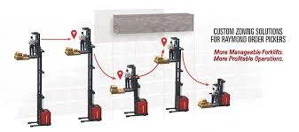pengate handling systems fleet and warehouse solutions custom zoning solutions for raymond order pickers featuring more manageable forklifts more profitable operations