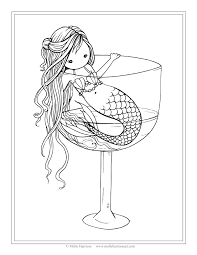 Small Picture Free Mermaid Coloring Page Mermaid in Wine Glass by Molly Harrison