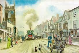 a painting showing a contractors 0 4 0st locomotive being driven up the high