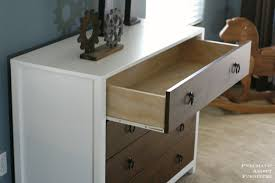 Diy modern dresser with wood drawers. Inspired by pottery barn kids Jordan  dresser. Free plans by ANA-WHITE.com