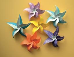 Paper Folded Flower Star Flowers Stephies Board Origami Paper Folding