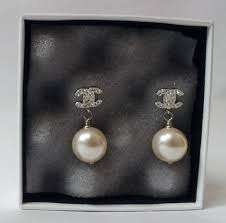 chanel earrings price. chanel crystal cc logo pearl earrings 0, 870, earrings, price