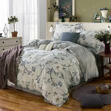 delicate grey fl cotton bedding set