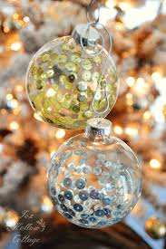how to fill clear glass ornaments with sequins