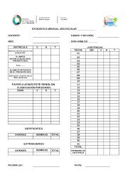 formato de asistencias estadistica mensual 2015