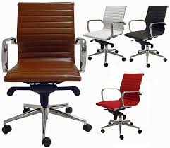 contemporary classic mid back leather office chair in stock