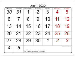 April 2020 Calendar 72ms Michel Zbinden En