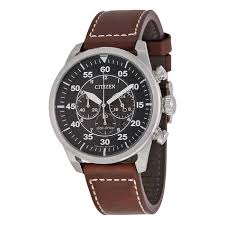 citizen ca4210 24e men s avion chronograph brown leather black dial