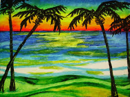 palms at sunset 14x17 beach landscape oil pastel by capart