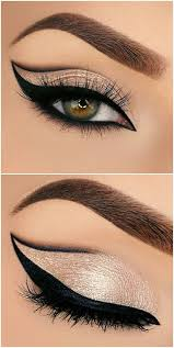 bold grapic cat eye outline half cut crease in black gold glitter