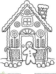 Small Picture Gingerbread House Coloring Worksheet Educationcom