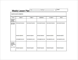 Kindergarten Daily Lesson Plan Template Weekly Lesson Plan Template ...