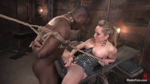 Blonde tattooed mistress Lorelei Lee fucks her tied slave with a.