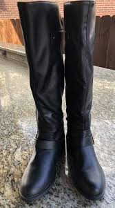 forever 21 black faux leather knee high boots size 5 5