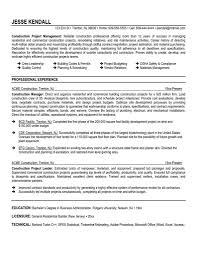 Construction Management Resume Objectives Job Sample Resumes