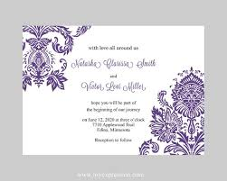 Wedding Invitations Templates Purple Wedding Invitation Template Purple Damask Instant Download Etsy