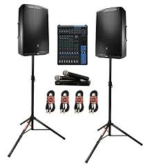 jbl 615. jbl eon615 15\u2033 powered speaker system bundle with yamaha mg12 12-channel mixing console, shure blx288/pg58 dual handheld wireless vocal and jbl 615