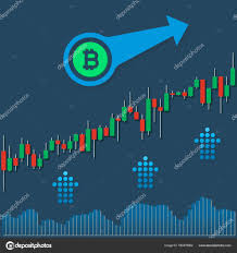 Bitcoin Option Chart Bitcoin Growing Market Chart With Volumes And Up Arrows On